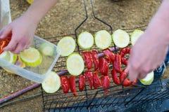 Préparation de légumes de BBQ pour le pique-nique photographie stock