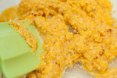 Préparation de la pâte de maïs Photographie stock