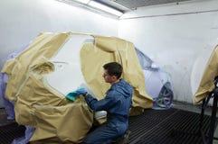 Préparation de peinture de véhicule. Photo libre de droits