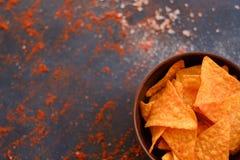 Préparation de poivre de sel de casse-croûte de nourriture de frite de nacho de tortilla image stock