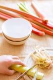 Préparation de rhubarbe crue fraîche Photos libres de droits