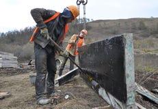 Préparation des boucliers de bâtiment pour le coffrage Photographie stock