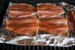 Griller des saumons Images libres de droits