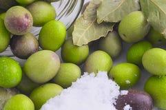 Préparation des olives marinées Images libres de droits