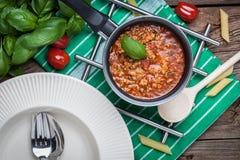 Préparation méditerranéenne de repas Images libres de droits