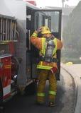 Préparation pour combattre l'incendie Images libres de droits