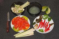Préparation pour faire cuire la soupe à Tom Kha Gai Image libre de droits