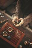 Préparation pour la cérémonie de thé Photographie stock libre de droits