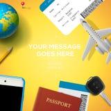 Préparation pour le voyage, téléphone, billet, passeport illustration de vecteur