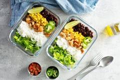 Préparation verte saine de repas avec le poulet photo libre de droits