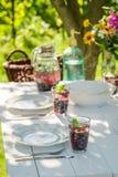 Préparations pour le dîner fait maison dans le jardin d'été Image stock