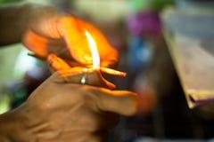 Préparez les outils pour le bambou traditionnel de tatouage Photos libres de droits