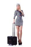 Préposé de voyage de femme avec la valise Photo libre de droits