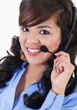 Préposé du service femelle de centre d'attention téléphonique Photos stock