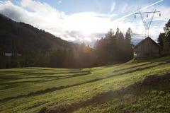 Prés alpins au coucher du soleil Image libre de droits