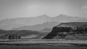 Prés de montagne noirs et blancs Photo libre de droits