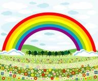 Prés et arc-en-ciel de fleurs illustration libre de droits
