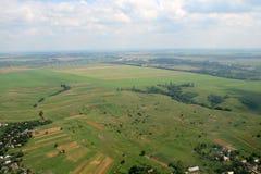 Prés et zones. Image aérienne. Photos libres de droits