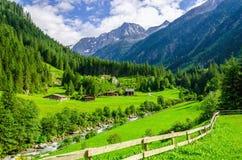 Prés verts, cottages alpins et crêtes de montagne Images stock