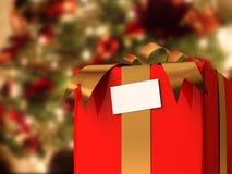 Présent avec l'arbre de Noël Photo stock