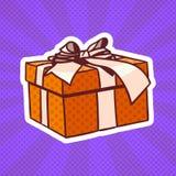 Présent d'Art Retro Style Of Realistic de bruit de boîte-cadeau avec le ruban et arc sur Dots Background Photos stock
