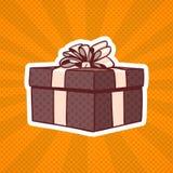 Présent d'Art Retro Style Of Realistic de bruit de boîte-cadeau avec le ruban et arc sur Dots Background Images stock