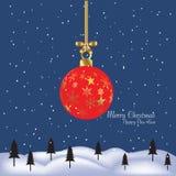 Présent de cadeau de Joyeux Noël et de bonne année illustration de vecteur