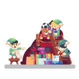 Présent de transport d'Elf dans le sac avec le Joyeux Noël de cadeaux Aide drôle de Santa Claus Elfe mignon gai le chef heureux d illustration de vecteur
