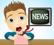 Présentateur choqué d'actualités de TV Photographie stock libre de droits