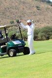 Présentateur de tournoi et maître grand Gary Player après la perforation Images stock