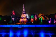Présentation 2012 de lumière et de son d'Ayutthaya Images libres de droits
