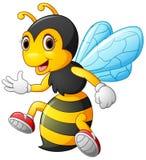 Présentation adorable d'abeille d'isolement sur le fond blanc Image stock