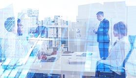 Présentation d'affaires, gratte-ciel illustration stock