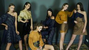 Présentation de la nouvelle collection de vêtements, modèles femelles avec la pose chic de maquillage banque de vidéos