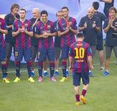 Présentation de Leo Messi Photographie stock libre de droits