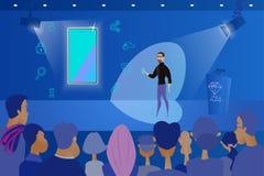 Présentation de nouveau Smartphone au concept public de vecteur illustration de vecteur