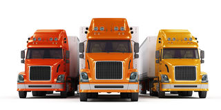 Présentation de quelques camions d'isolement sur le blanc Image libre de droits