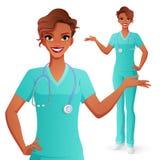 Présentation de sourire de docteur Femme dans l'uniforme médical Illustration d'isolement de vecteur illustration stock