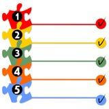 Présentation graphique du processus fonctionnant dans cinq étapes Images libres de droits
