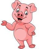 Présentation heureuse de porc de bande dessinée illustration de vecteur