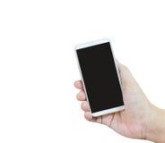Présentation ou exposition d'isolement de main smartphone blanc sur le backg blanc Photo libre de droits