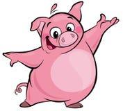 Présentation rose mignonne heureuse de caractère de porc de bande dessinée illustration stock