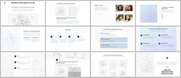Présentations minimales, calibres de portfolio Éléments de couleur bleus, concept de connexion Conception de vecteur de couvertur Photos libres de droits