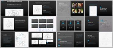 Présentations minimales, calibres de portfolio Éléments simples sur le fond noir Conception de vecteur de couverture de brochure Images stock