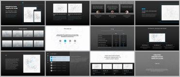 Présentations minimales, calibres de portfolio Éléments simples sur le fond noir Conception de vecteur de couverture de brochure Photos libres de droits
