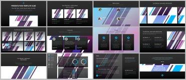 Présentations minimales, calibres de portfolio Éléments simples sur le fond noir Conception de vecteur de couverture de brochure Photographie stock