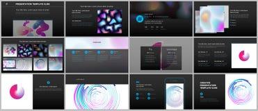 Présentations minimales, calibres de portfolio avec les modèles géométriques, gradients, formes liquides Conception de vecteur de Photo libre de droits