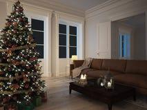Présents de rouge et de vert par l'arbre de Noël rendu 3d Images stock