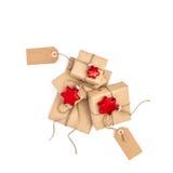 Présents enveloppés par décoration de papier de Noël d'étiquettes de boîte-cadeau Images libres de droits