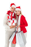 Présents et paniers de fête de participation de couples Image libre de droits